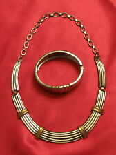 Set Gold Silver Tone Vintage Ribbed 18-inch Necklace Cuff Bracelet USA