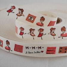 Kawaii Cute Cotton Fabric Sewing Label Ribbon Tape Ballerina Ballet Dancer Girl