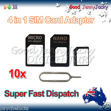 10x SIM Card Adapter Kit 4 in 1 Nano Micro Standard Size Converter for iPhone5/4