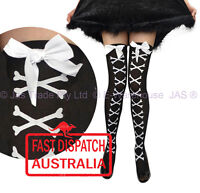 Costume Halloween Fancy Dress Tights Thigh Stockings Cross Bones White Bow BLACK