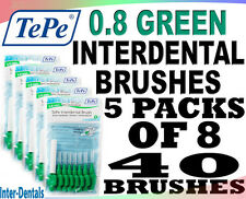 TePe Interdental Brushes Green 0.8mm - 5 Packs of 8 Brushes - Fast, Free Ship