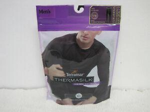 NEW Men's Terramar Thermasilk 100% Pure Silk Black Underwear Long Johns Size L