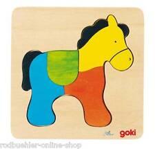 Holzpuzzle Setzpuzzle Pferd Tiere Zug Puzzle aus Holz goki Einlegepuzzle 4 Teile
