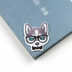 Cute Puppy With Glasses Iron On Patch- Dog Applique Crafts Badge Patches HD249