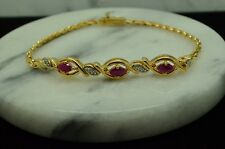 "7"" GOLD PLATED BRAIDED CHAIN BRACELET W/ PINK RUBIES & DIAMONDS #X21603"