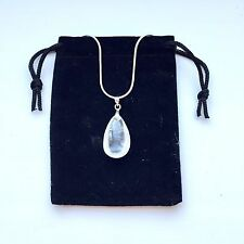 "Rock Crystal Quartz Necklace Pendant With Silver Plated 18"" Chain"
