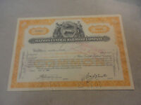 1962 Illinois Central Railroad Company Stock Certificate #CC20416 100 Shares