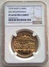 Haiti 1974 USA Bicentennial 1000 Gourde NGC Gold Coin,Proof