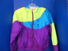 USA OLYMPICS~Purple, Blue, Yellow WINDBREAKER JACKET~Shoulder Pads~Women's Large