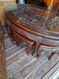 Chinese Opium /tea table plus 6 stools