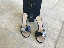 GUISEPPE ZANOTTI WOMEN'S BLACK SANDALS WITH CRYSTAL BUCKLE, SIZE 7 1/2