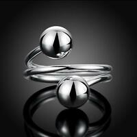 New Fashion 925 Sterling Silver Adjustable Ring Round Ball Open Rings Party Gift