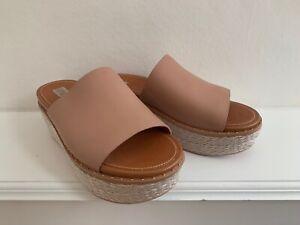FITFLOP ELOISE Pale Pink Wedge Heel Leather Slip On Slides UK 5 : WORN ONCE