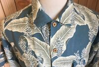 Tommy Bahama 100% Rayon Men's Sz M Shirt Blue Floral Hawaiian Camp