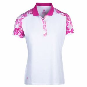 Island Green Golf Ladies Floral Quick Drying Moisture Wicking Polo Shirt Top