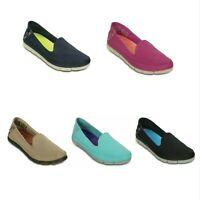 NEW Womens Crocs Stretch Sole Skimmer Flat Slip Ons Loafers Canvas Shoes 5 6 7