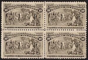 "US Sc# 237 *MINT OG H/ NH* { BLOCK OF 4 } 10c COLUMBIAN 1893 ""SCARCE CV$ 800.00"