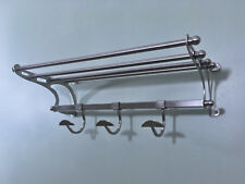 "Paris Hotel Towel Rack Shelf with Hooks in Brushed Nickel 20"" Overall"