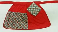 1960s Half Apron Red green Yellow 2 Pockets Pot Holder Kitchen Textiles Vintage