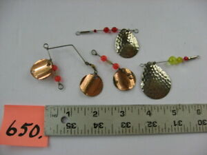 #650) 2 Cabela's Hammered Fishing Lure Spinners & 2 Handmade unmarked lures.