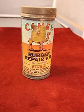 "NEAT OLD VTG 1962 ""CAMEL RUBBER REPAIR KIT"" ADVERTISING TIN ""SELF VULCANIZING"""