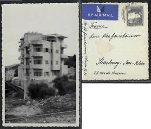 Haifa 1936 - British Mandate Air Mail Palestine photo postcard