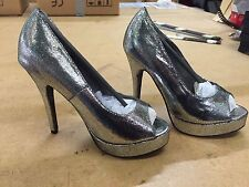 14 PAIRS OF OPEN TOE HIGH HEELED SILVER SHOES, DRAG QUEEN, PARTY, PROM, SHOW,