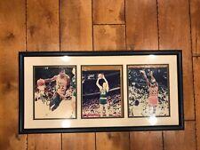 "MAGIC JOHNSON SIGNED LARRY BIRD MICHAEL JORDAN 8X10 PHOTO Framed Matted 15""x30"""