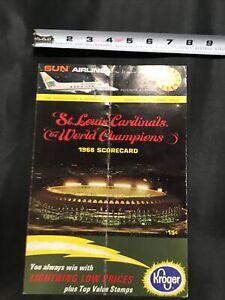 1968 St Louis Cardinals vs Los Angeles Dodgers Unknown signed Baseball Scorecard