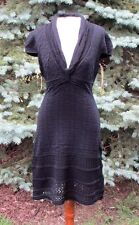Catherine Malandrino Yellow Label Pointelle Cap Sleeve Knit Dress (m)
