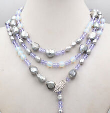 Jewelry 6mm Crystal 8mm Opal Silver Baroque Natural Pearl Hand Knit Necklace 60""