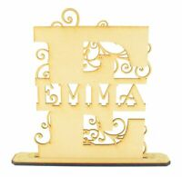 Personalised Fancy Flourish Wooden MDF Craft Letter on a Stand Personalised Gift