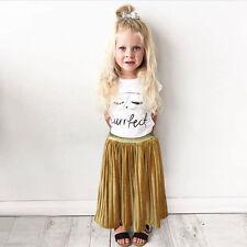 Kids Baby Girls Pleated Skirt Party Dress Long Dress Tutu Skirt Clothes Princess