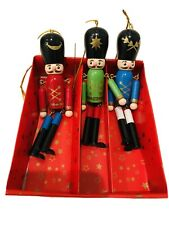 Lot 3 5in Red Green Nutcracker Dangling Leg Arm Jingle Bells Christmas Ornaments