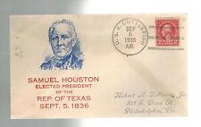 1938 USA NAVY USS SUBMARINE Cuttlefish Cover Samuel Houston Texas President