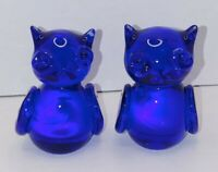 "2 Blue/Cobalt Art Glass Owl Paperweights/decor/unsigned Polished Bottoms 3"" Tall"