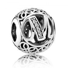 Authentic Pandora Charm Sterling Silver Vintage Letter M Clear CZ 791857CZ