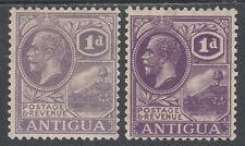 ANTIGUA 1921 KGV BADGE 1D BOTH SHADES