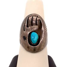 VTG Estate Navajo P Hallmark Bear Paw Sterling Silver & Turquoise Size 8.5 Ring!