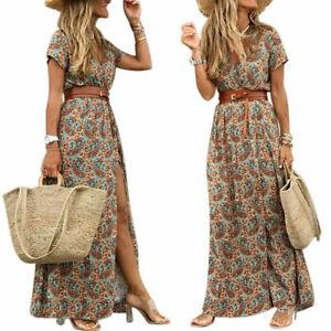 Womens Summer V Neck Boho Belted Long Maxi Dress Ladies Beach Holiday Sundress