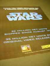STAR WARS Trilogy THANK YOU VIDEO RETAILERS 1996 promo poster ad MINT CONDITION