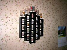 24 Shot Glass Shooter Display Wall Organizer Shelf Painted Black Solid Wood New