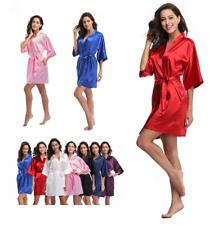 PurePure color robe Silk Satin Robes Bridal Wedding Bridesmaid Bride Gown kimono