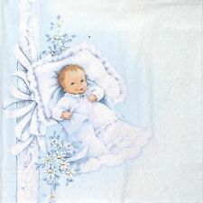 4x Paper Napkins -New Born Baby Boy- for Party, Decoupage