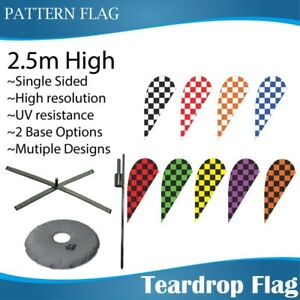 2.5m Outdoor CHECKERED Teardrop Banners Teardrop Flag with Base
