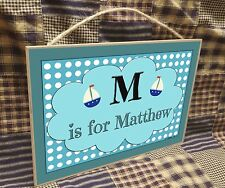 """Personalized Sailboats Name Kids Room Baby Nursery 7"""" x 10.5"""" SIGN Boats Plaque"""