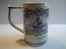 Vintage Ceramic Hand Painted Delft Blue Heineken Beer Mug Holland New Amsterdam