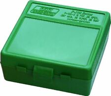 Mtm Plastic Ammo Boxes (2) Green 100 Round 38 / 357 - Free Shipping