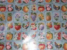 "Lee Jofa ""County Fair Print"" glazed cotton farm life theme by the yard clr blue"