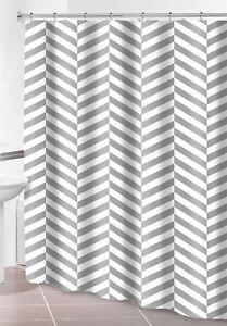 Textured Herringbone Gray White Shower Curtain w/ Hooks Chevron Striped